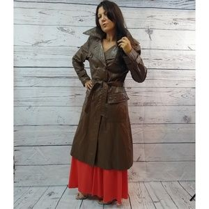 70s double breasted leather trench